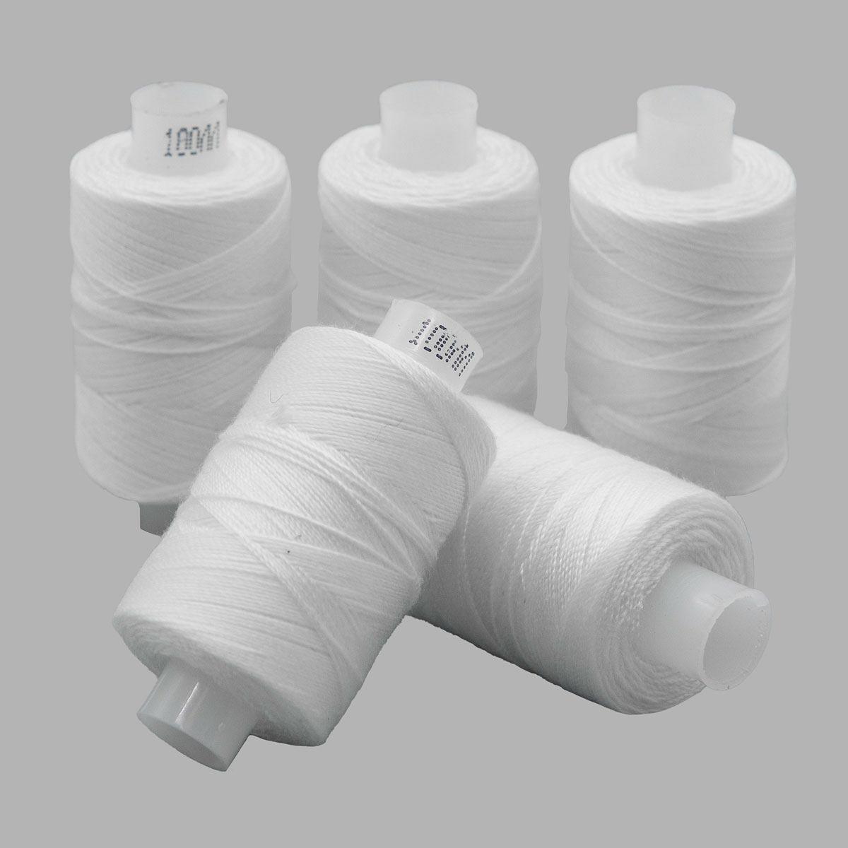 Армированные швейные бытовые нитки 100ЛЛ белые