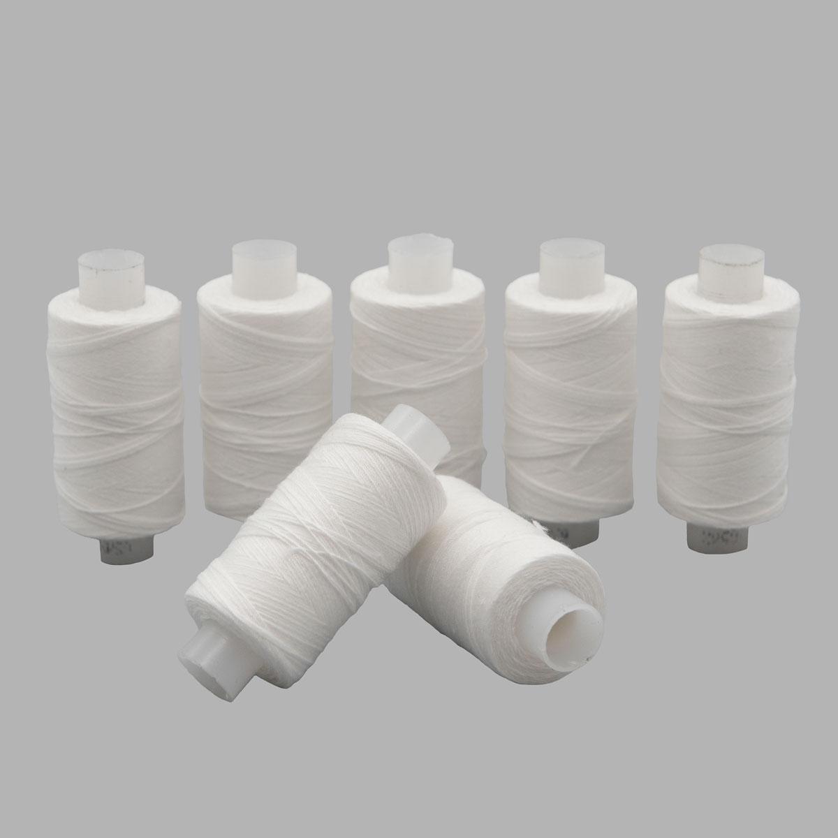 Армированные швейные бытовые нитки 65ЛХ белые