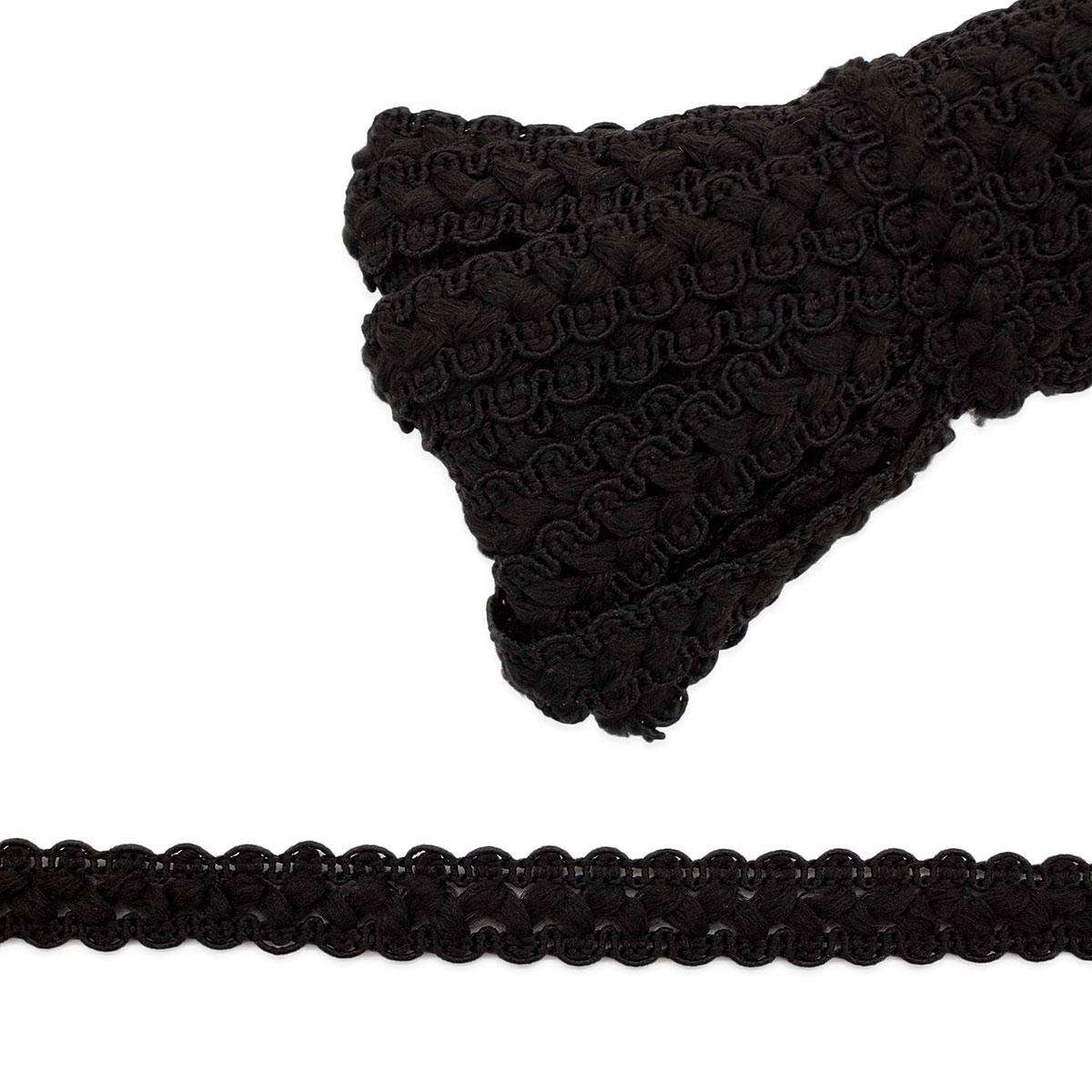 С818 Тесьма вязаная отделочная, 17 мм*10 м (черный) фото