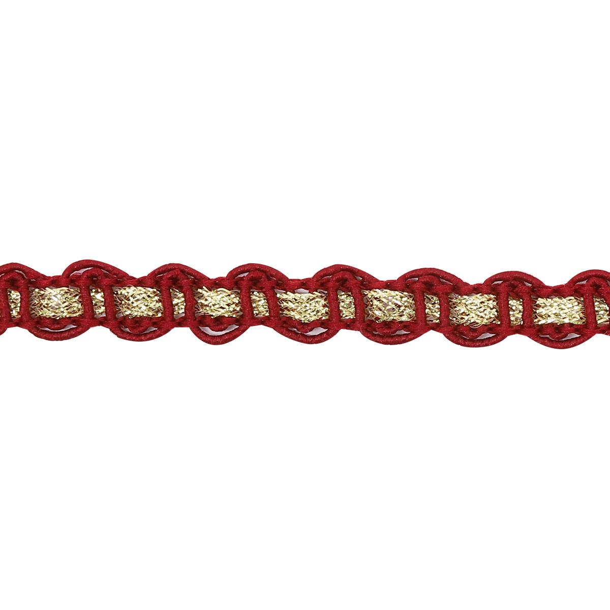 С922 Тесьма вязаная отделочная, 10 мм*10 м (бордо/золото) фото