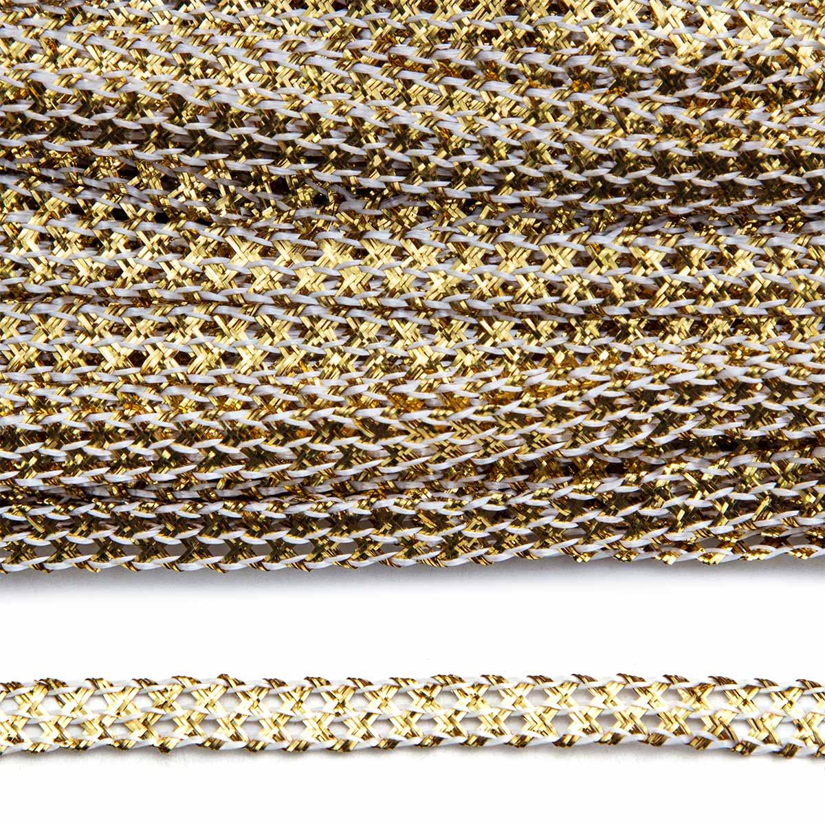 С799 Тесьма плетеная отделочная, золото, 7 мм *30 м