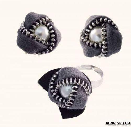 1344АС Набор для вышивания 'Клипсы и перстень Розочки' (Риолис)