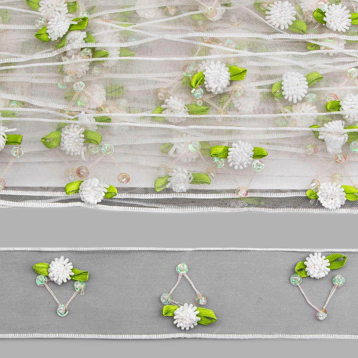 0385-4090 Тесьма капроновая отделочная, 4,1 см*18,28 м (белый) фото