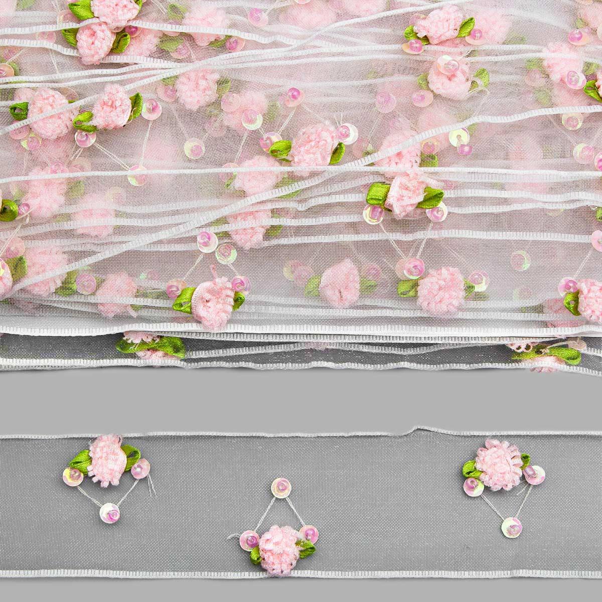 0385-4090 Тесьма капроновая отделочная, 4,1 см*18,28 м (розовый) фото