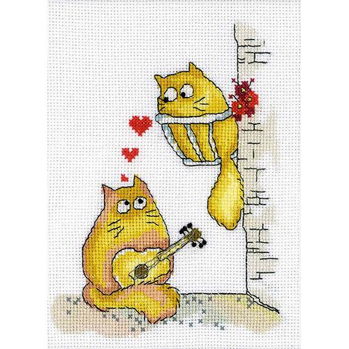 С138 Набор для вышивания RTO 'Коты - серенада', 20х15 см