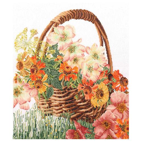 3064 Набор для вышивания Gouverneur 'Корзина цветов', лён, 34,5*39 см