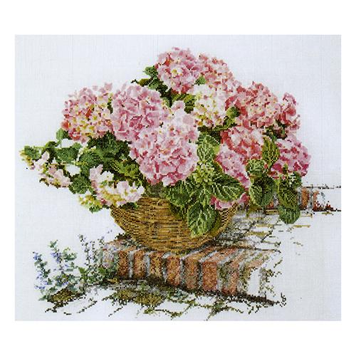 2047 Набор для вышивания Gouverneur 'Розовая гортензия на ступеньках', лён, 44*39 см