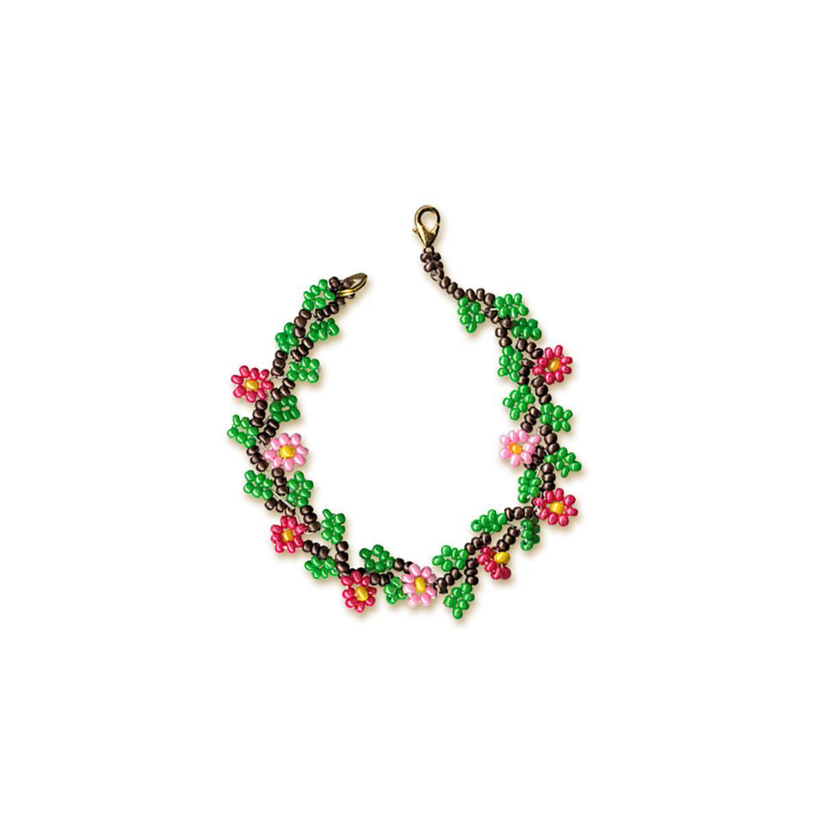 Б018 Набор для бисероплетения Riolis 'Браслет с цветами', 18 см