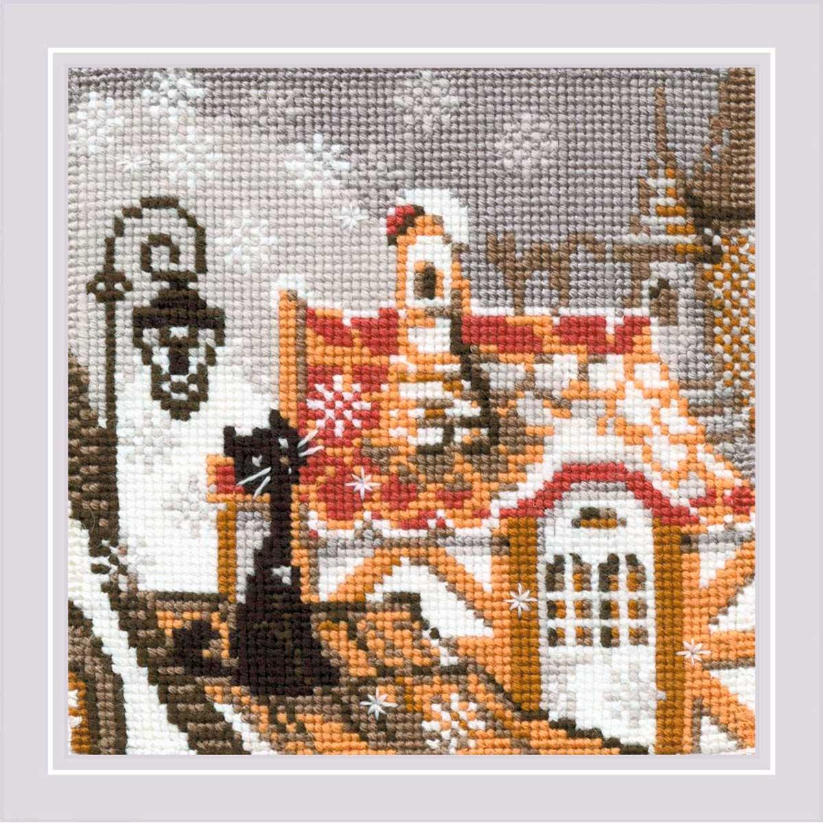 610 Набор для вышивания Riolis 'Город и кошки. Зима', 13*13 см