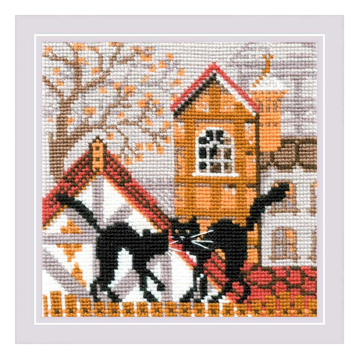 613 Набор для вышивания Riolis 'Город и кошки. Осень', 13*13 см фото