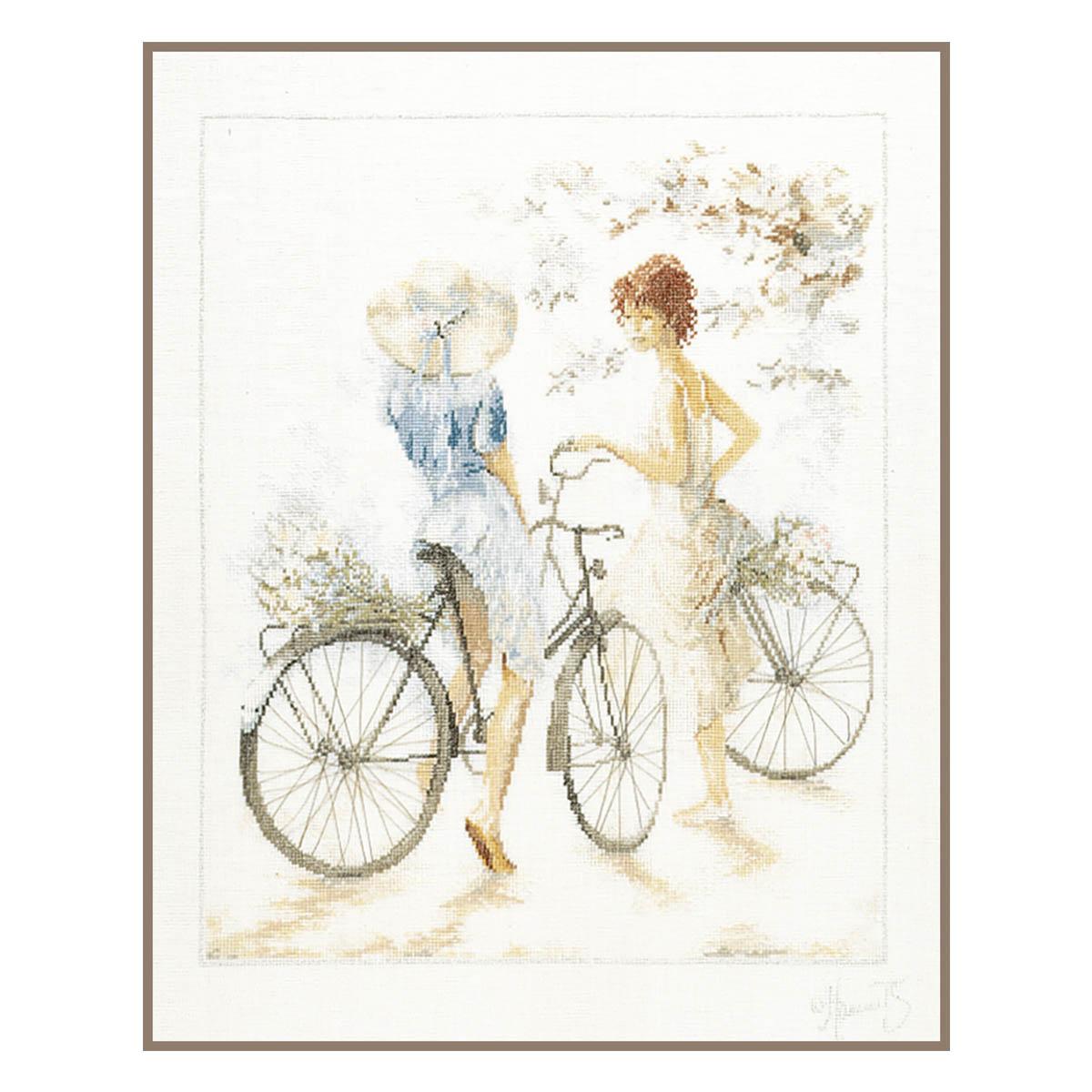 0007949-PN Набор для вышивания LanArte 'Велосипедистки' 39x49 см