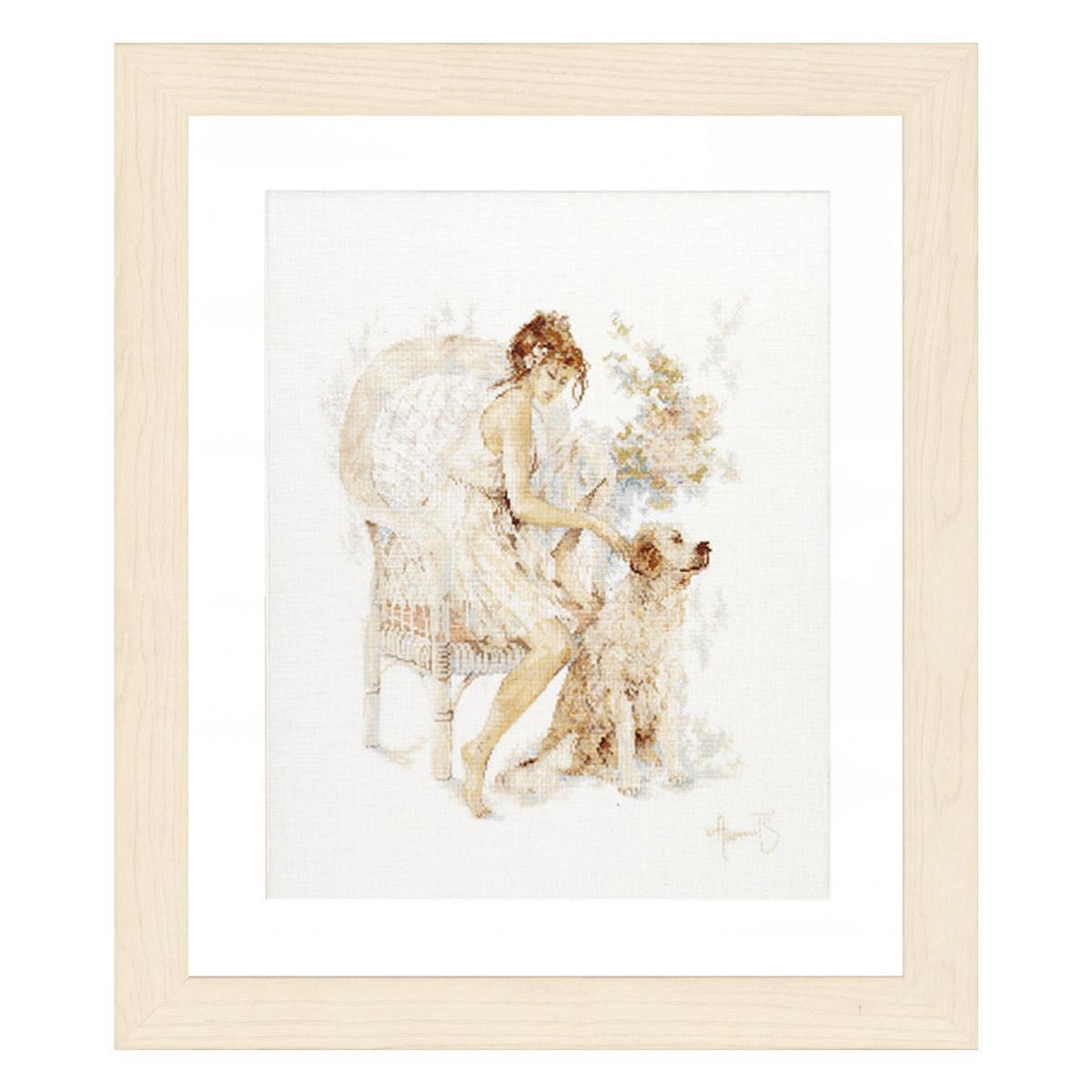 0007951-PN Набор для вышивания LanArte 'Девушка с собакой' 39x49 см