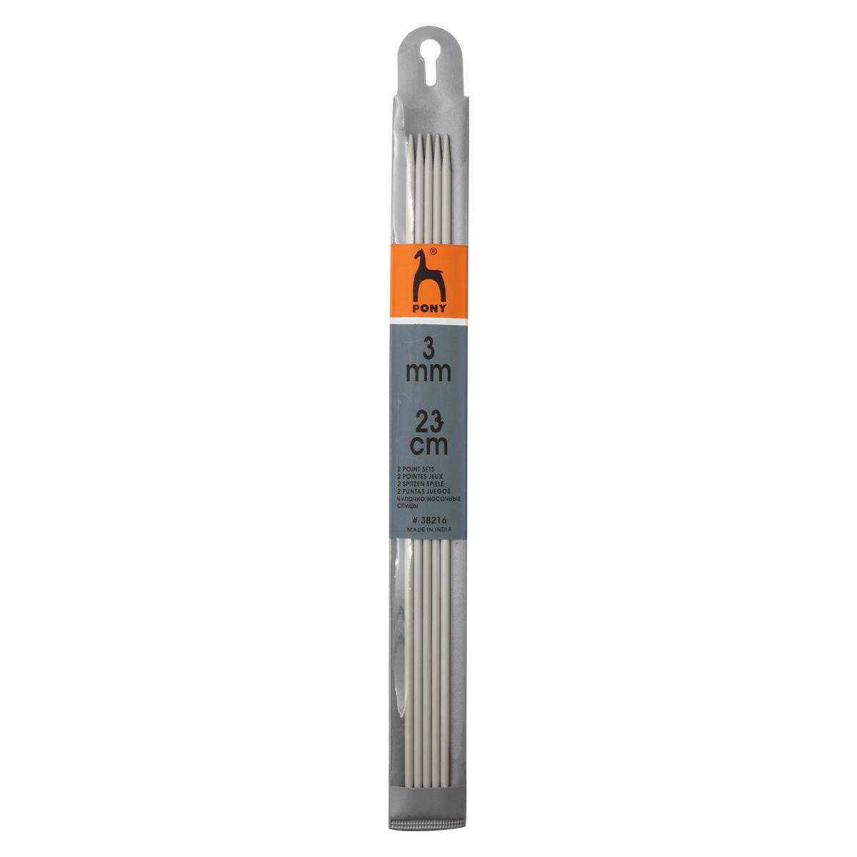 38216 (38616) Спицы носочные алюминий 3,0мм*23см PONY