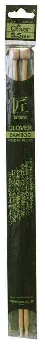 3012 Спицы прямые, бамбук, 5,5 мм*33 см, Clover