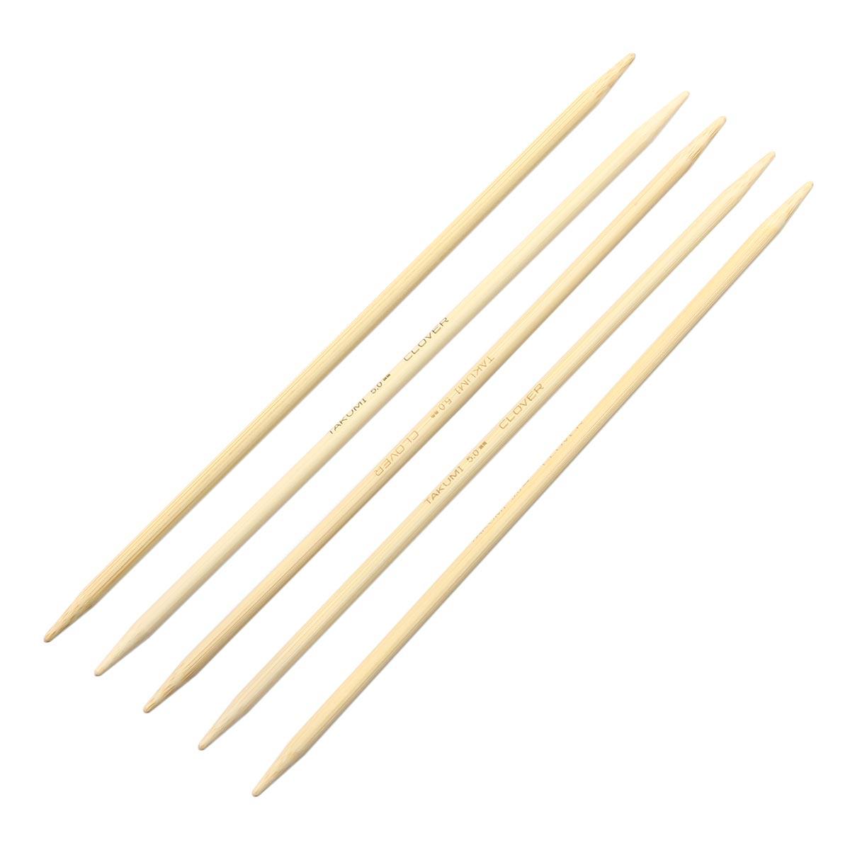 3015 Спицы носочные, бамбук, 5,0 мм*20 см, упак./5 шт., Clover
