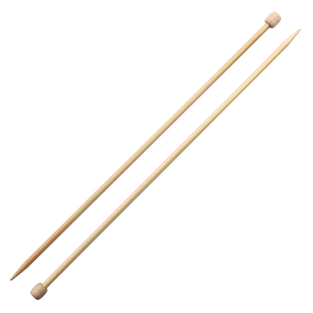 63532 Спицы вязальные прямые 5,50мм*33см, бамбук, 2шт PONY