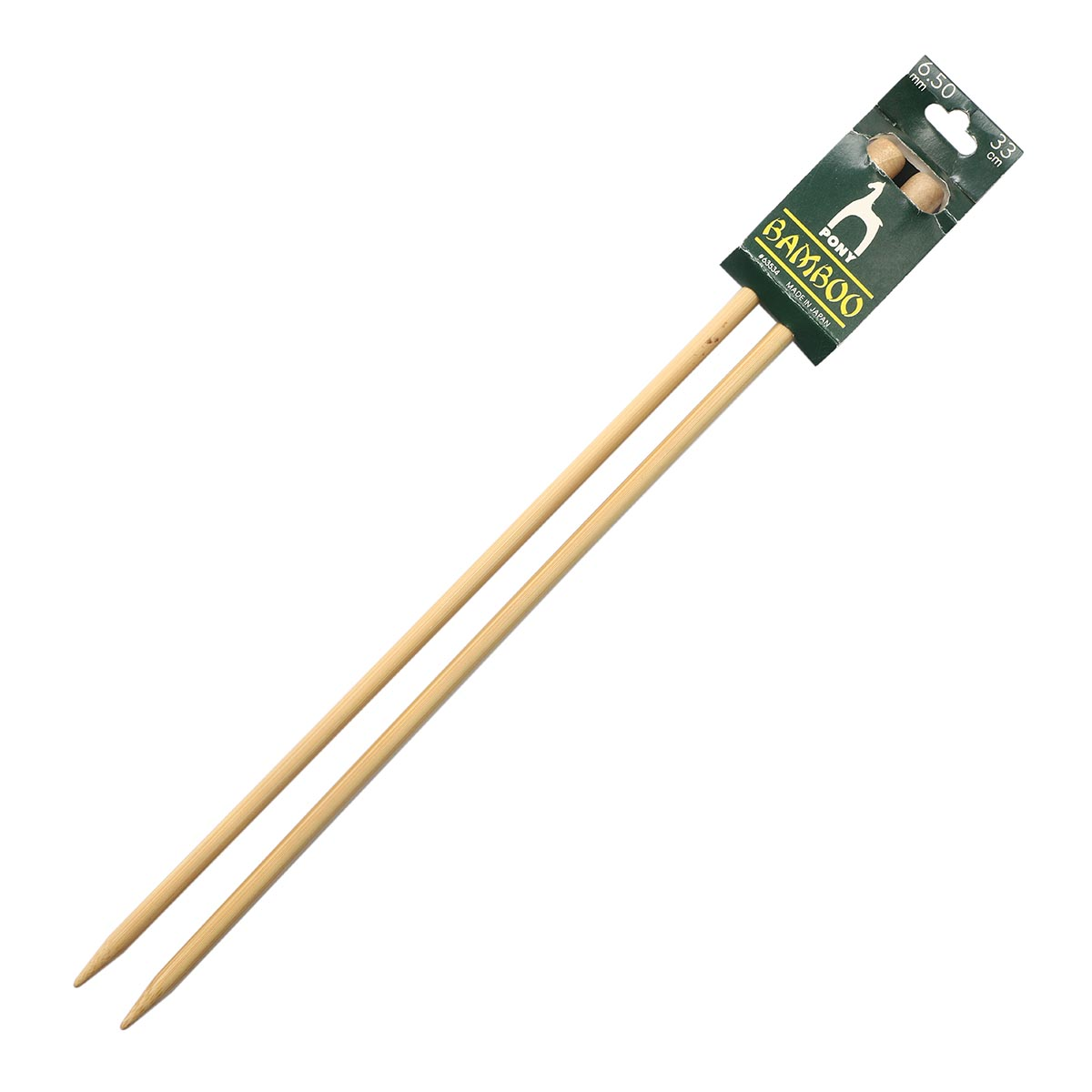 63534 Спицы вязальные прямые 6,50мм*33см, бамбук, 2шт PONY