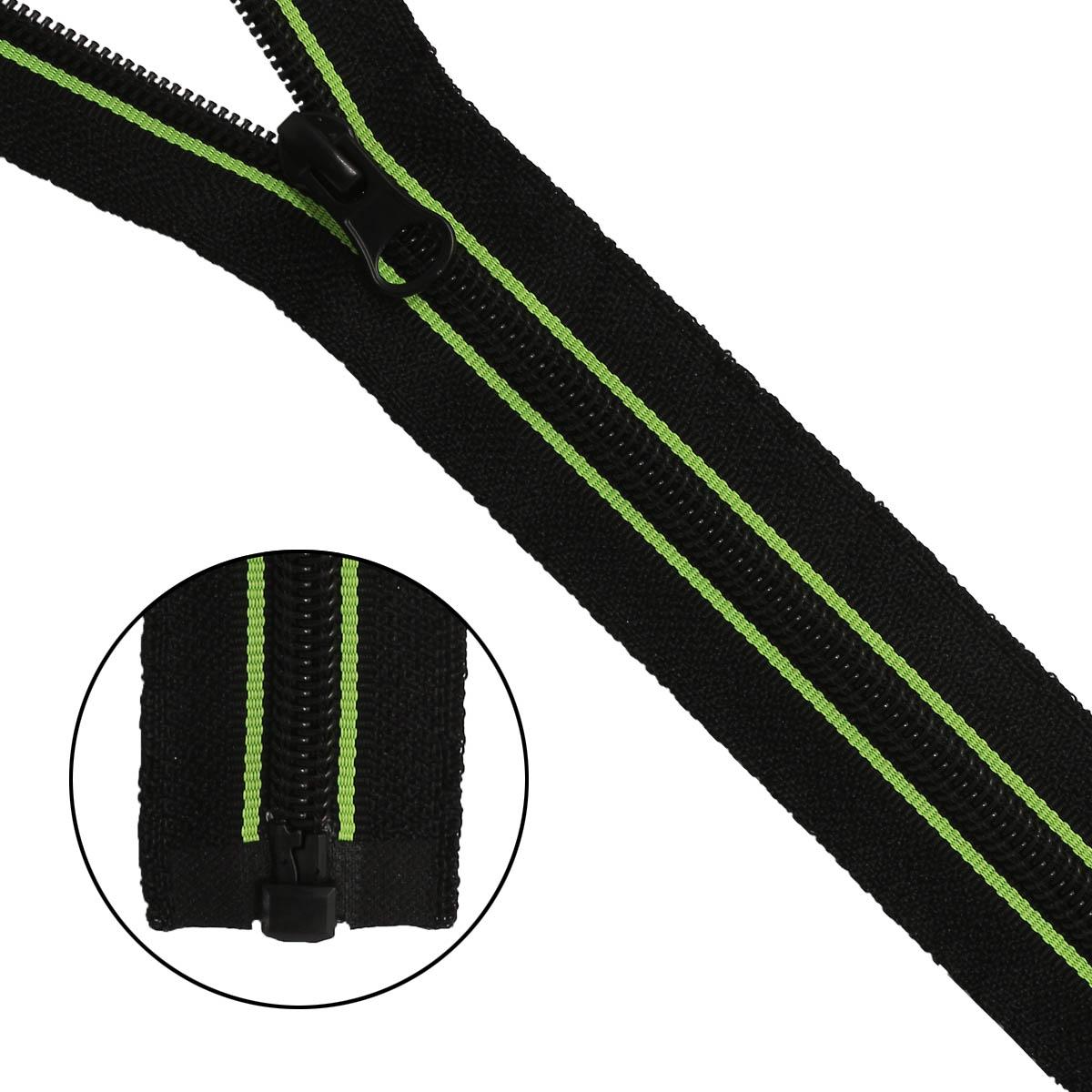 Молния 'витая' Т7 1зам., принт 'Полосы', 65см (черный/зеленый) фото