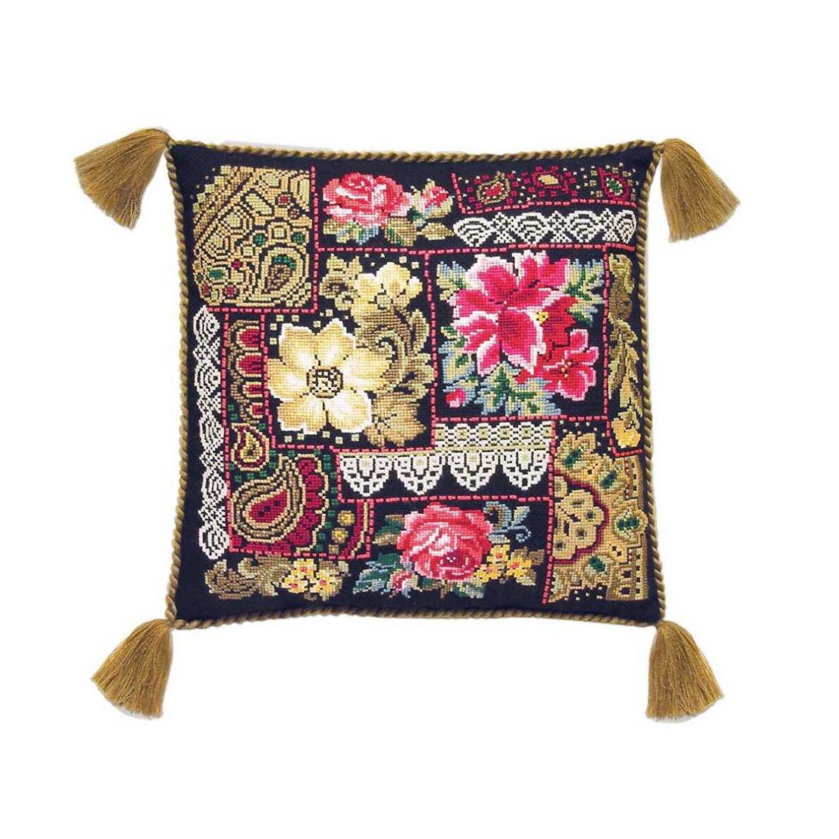 761 Набор для вышивания Riolis подушка 'Цветочная композиция', 40*40 см