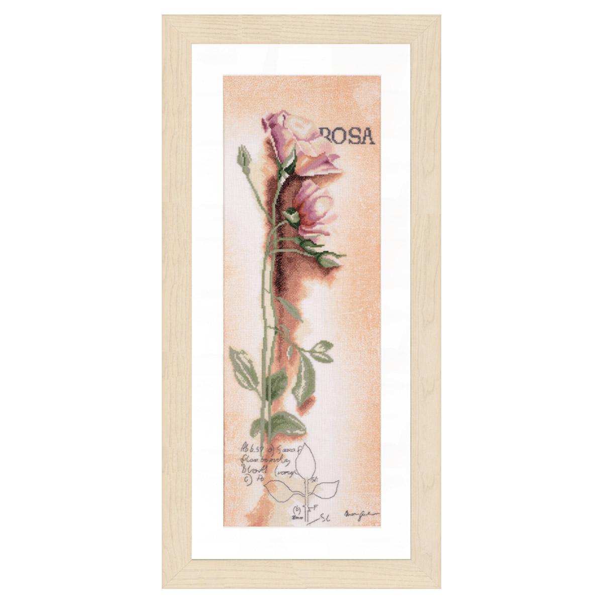 0008050-PN Набор для вышивания LanArte 'Роза 'Botanical'' 20x60 см