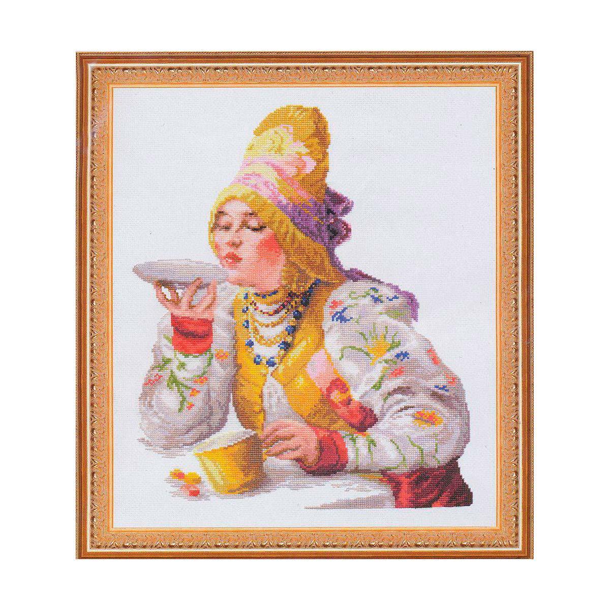 66-01 В064 Набор для вышивания 'Чудесная игла' 'Боярышня за чаем', 30*38 см