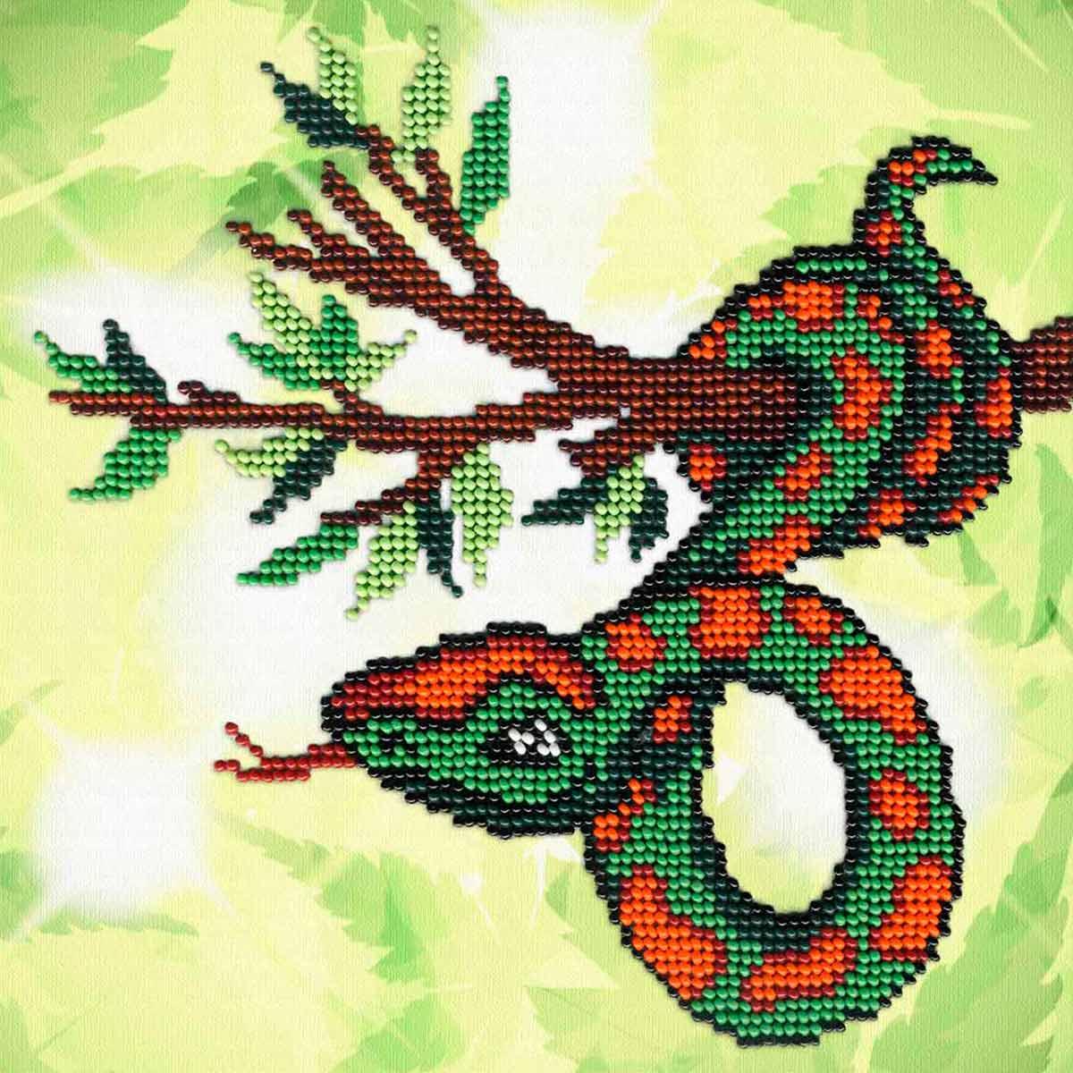 БГ-170 Набор для вышивания МП Студия 'Змейка на ветке' 18*18 см