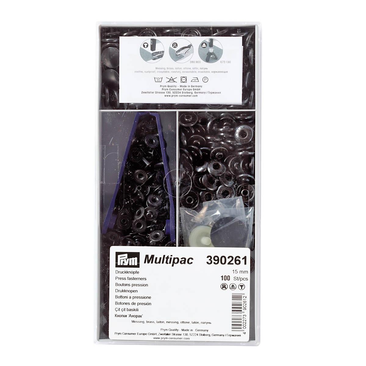 390261 Кнопки 'Анорак' (латунь) черный цв. 15 мм *100шт. Prym