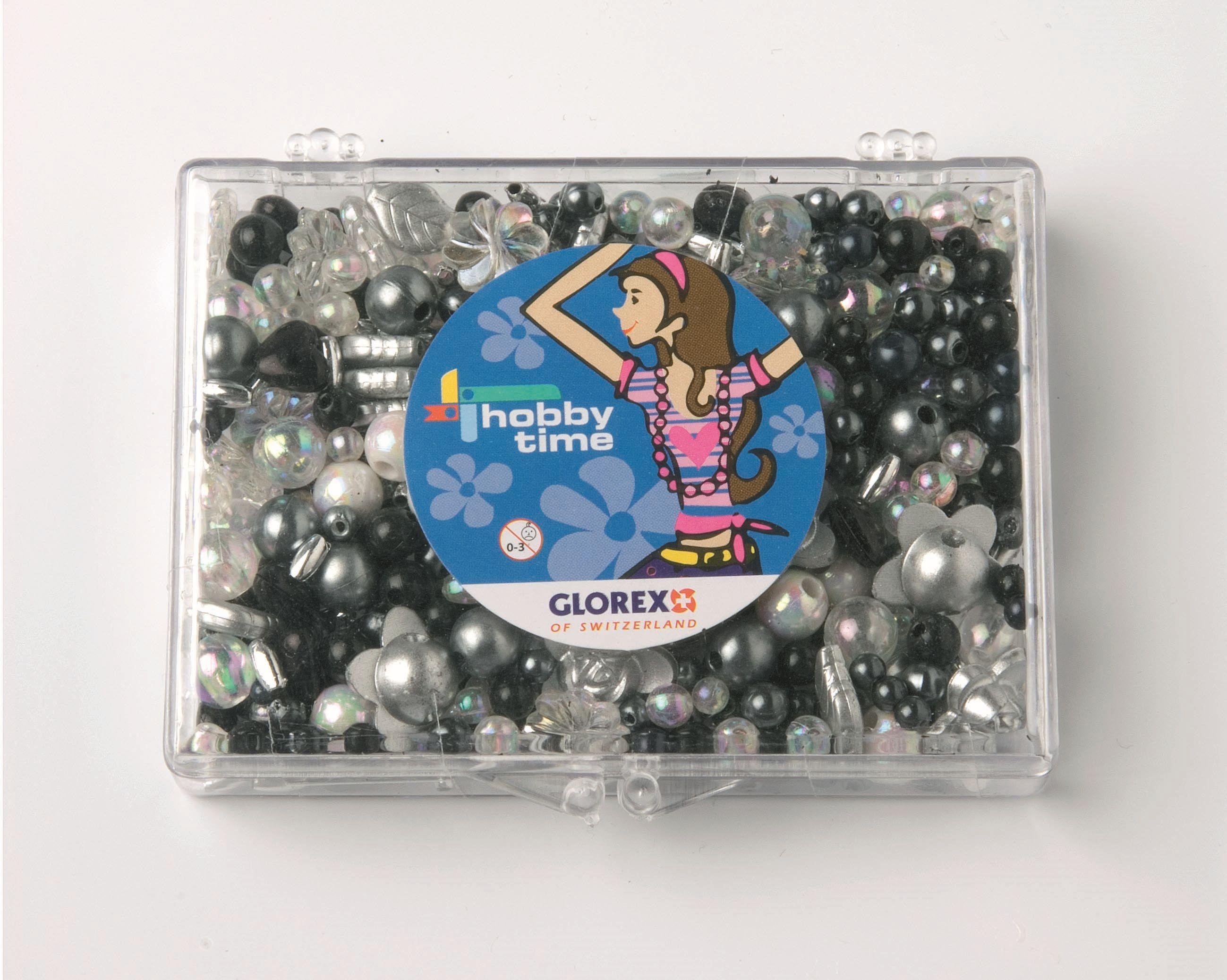 61630041 Набор из бисера в платиковом контейнере черный/белый Glorex
