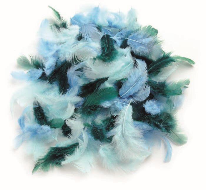 63821024 Декоративные перья бирюзовое ассорти 10г Glorex