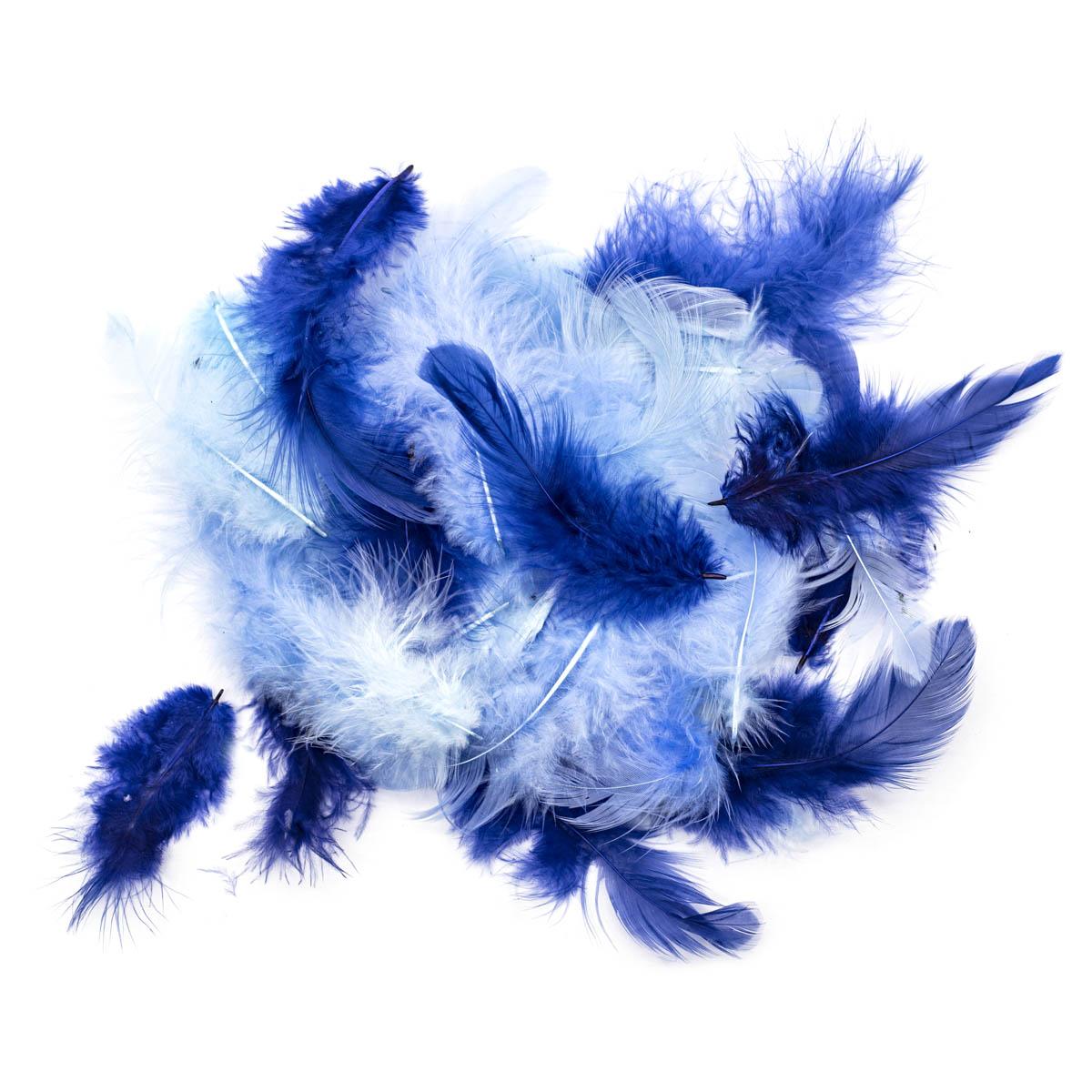 63821123 Декоративные перья голубое ассорти 2г, (30шт.+,-) Glorex