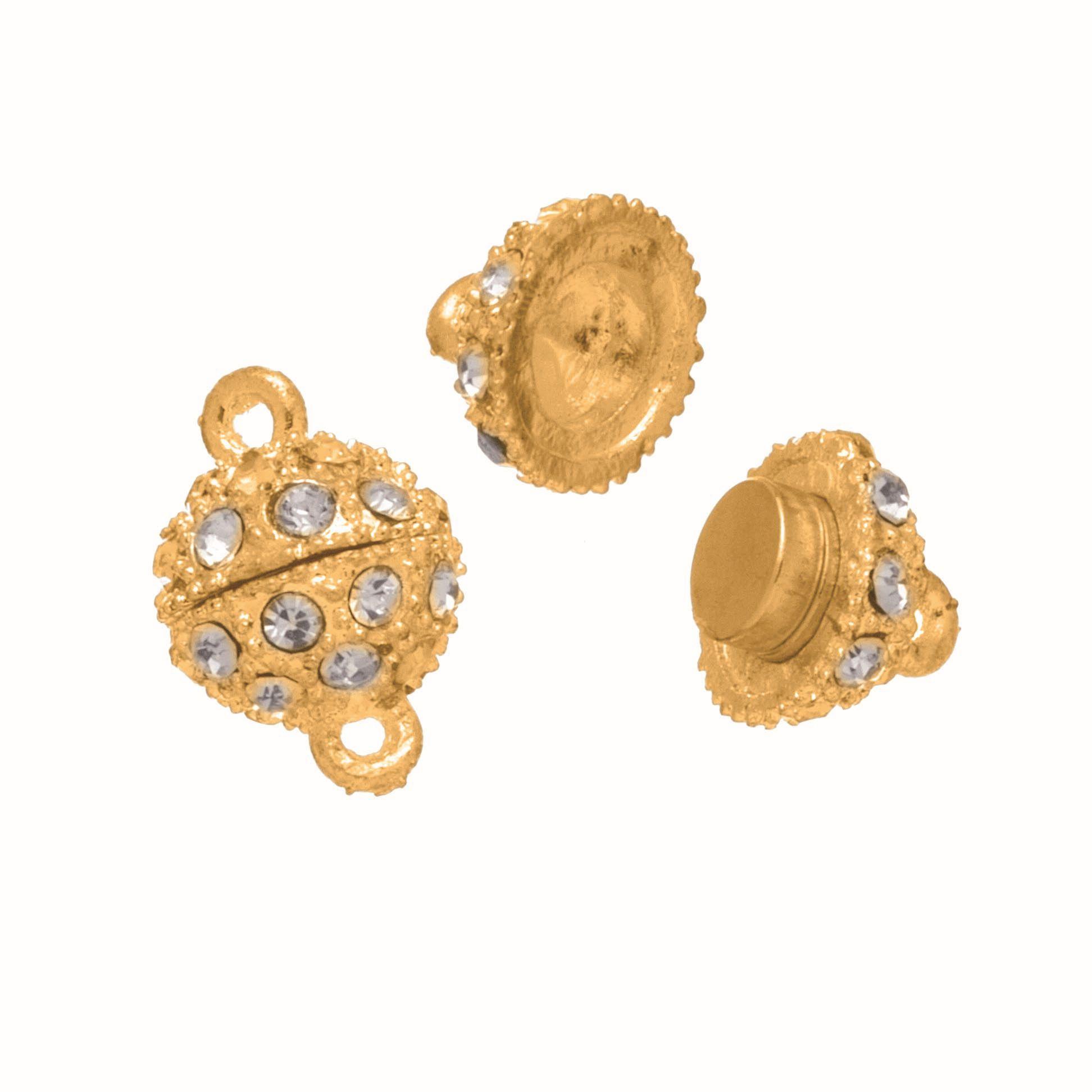 63714009 Магнитная застежка с кристаллом 1шт 13мм, золото Glorex