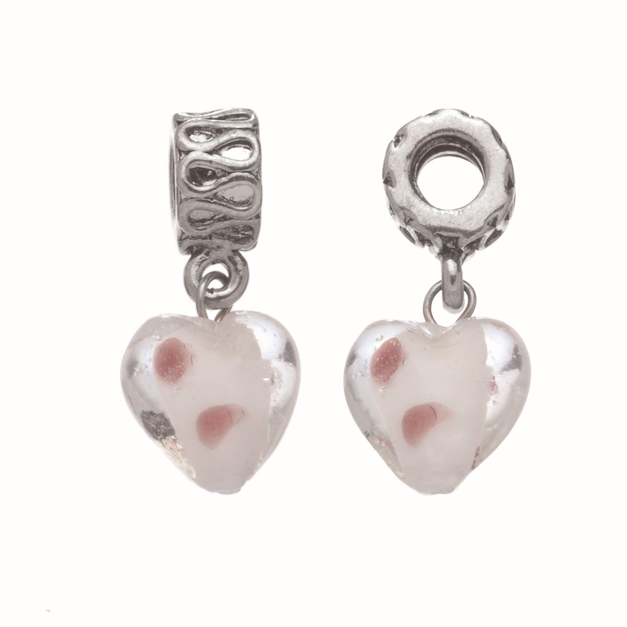 63713005 Кулон для браслета Сердце с глазурью 1 шт серебро Glorex