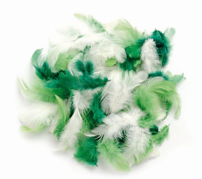 63821125 Декоративные перья, ассорти зеленый 2г, (30шт.+,-) Glorex