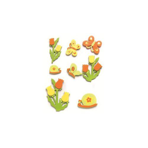 61710071 Фигурки из дерева, светло-зеленый/желтый/оранжевый, 20-45 мм, упак./8 шт., Glorex