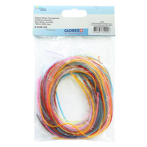62240103 Цветная проволока из пластика прозрачная 20шт 100см, ассорти 10 цветов Glorex