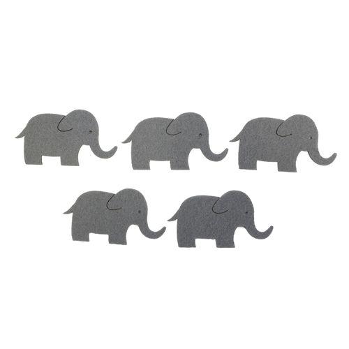 67101323 Фигурки из фетра 'Слоны', 5шт, 60 мм, цвет: серый, Glorex