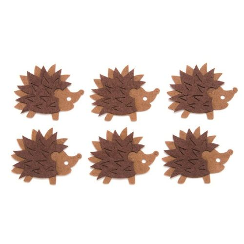 67101325 Фигурки из фетра коричневый 'Ежики', 6шт, 50 мм, Glorex