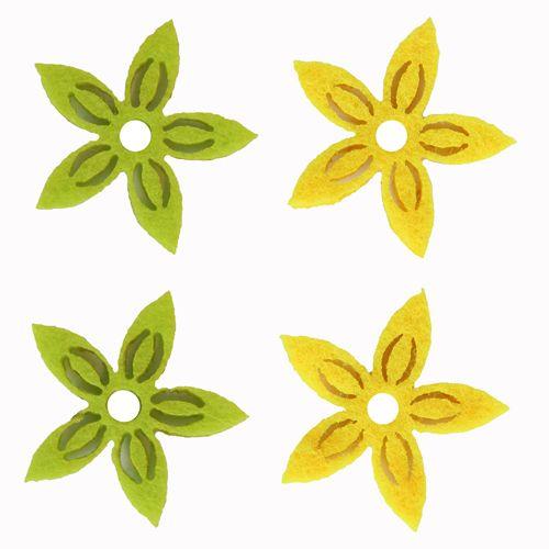 61215101 Фигурки из фетра 'Цветы', 12шт, 30мм, цвет: желтый / светло-зеленый, Glorex