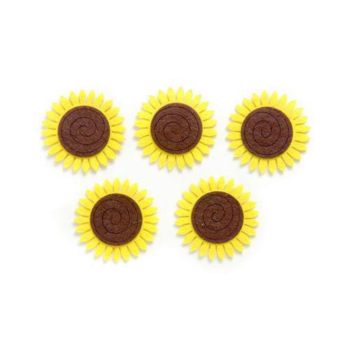 67101306 Фигурки из фетра 'Подсолнухи', 5 шт, 50 мм, цвет: желтый/коричневый, Glorex