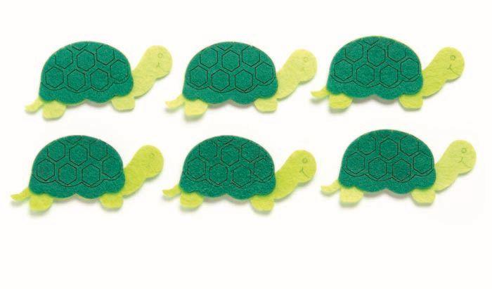 67101320 Фигурки из фетра 'Черепахи', 6шт, 7см, цвет: зеленый, Glorex