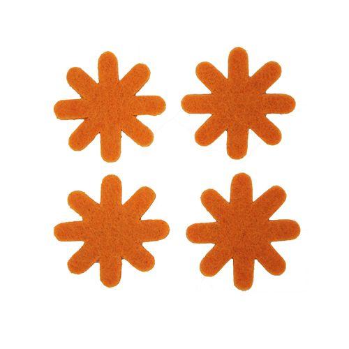 61212961 Цветок из фетра, 12шт, 30мм, цвет: оранжевый, Glorex