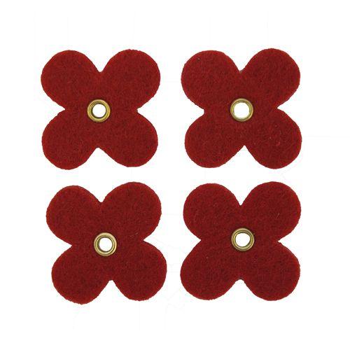 61213064 Цветок из фетра, 12шт, 35мм, цвет: красный, Glorex