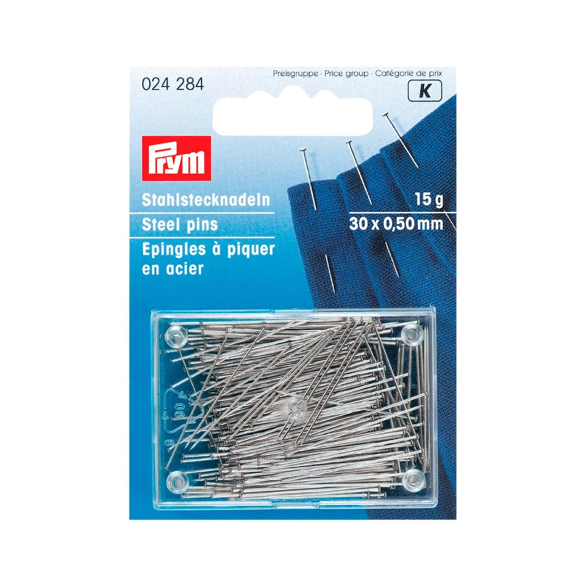 024284 Булавки (сталь) 6 очень тонкие, для шелка и сатина серебристый цв. 0,50 x 30 мм Prym