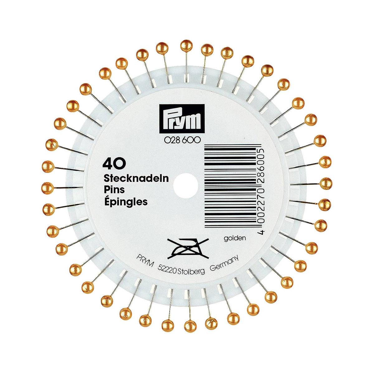 028600 Булавки с жемчужной головкой, золотой цв. 0,65x38 мм Prym