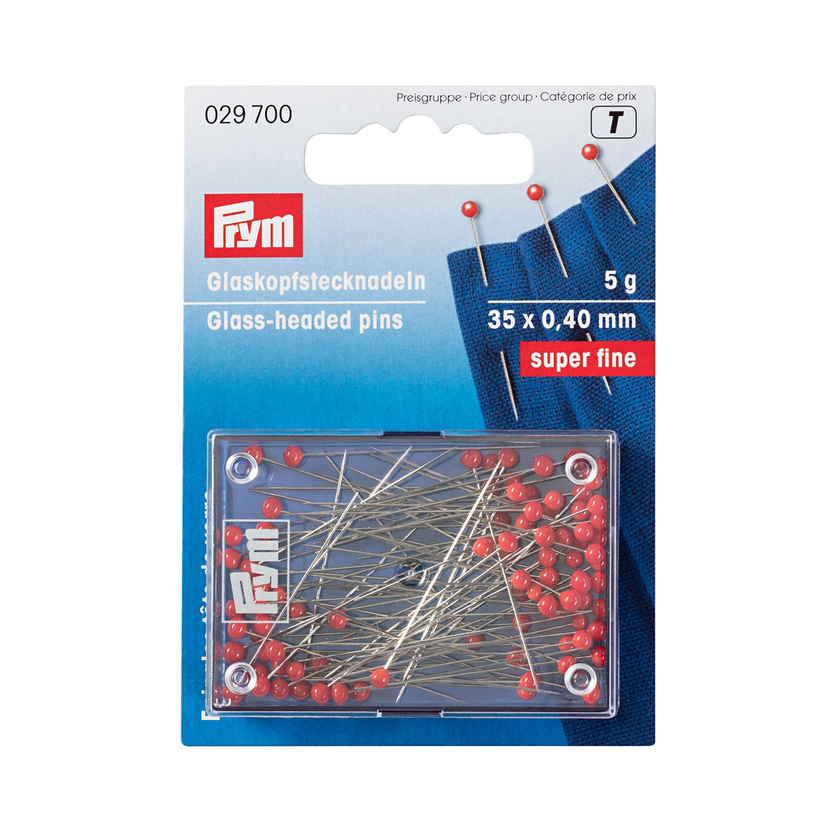 029700 Булавки с красными стеклянными головками для тонких тканей 35х0,40мм, серебристые Prym