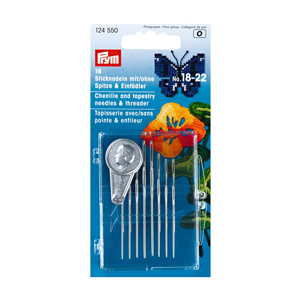 124550 Набор игл для вышивки с остриём/без острия №18-22 с нитевдевателем (сталь) Prym