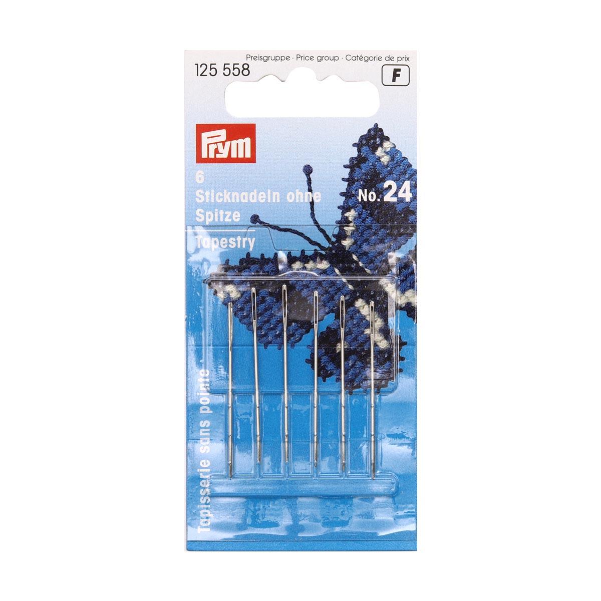 125558 Иглы для вышивания со скруглённым остриём (сталь) 24 серебр.цв. 0,80*37мм Prym
