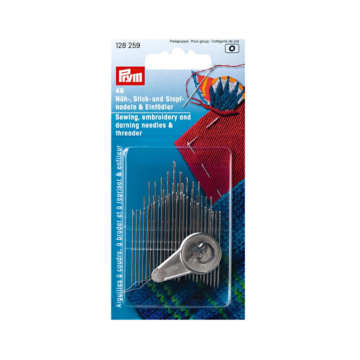 128259 Набор игл для шитья, вышивки и штопки с нитевдевателем (49 шт в) Prym