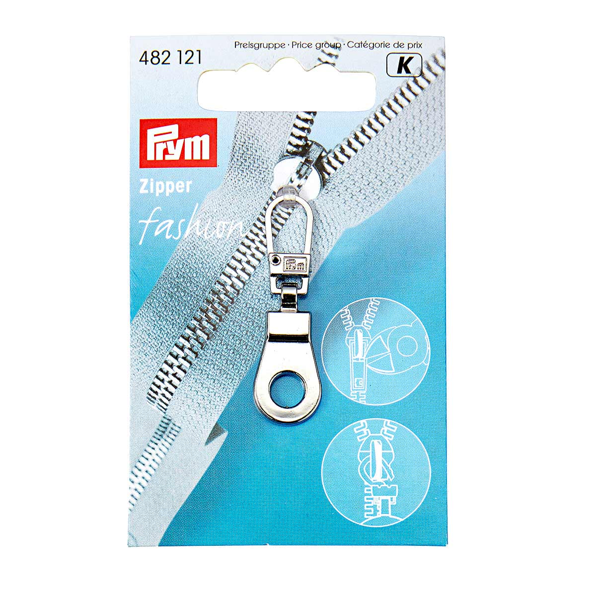 482121 Подвеска для молний (люверс), металл, серебристый, Prym