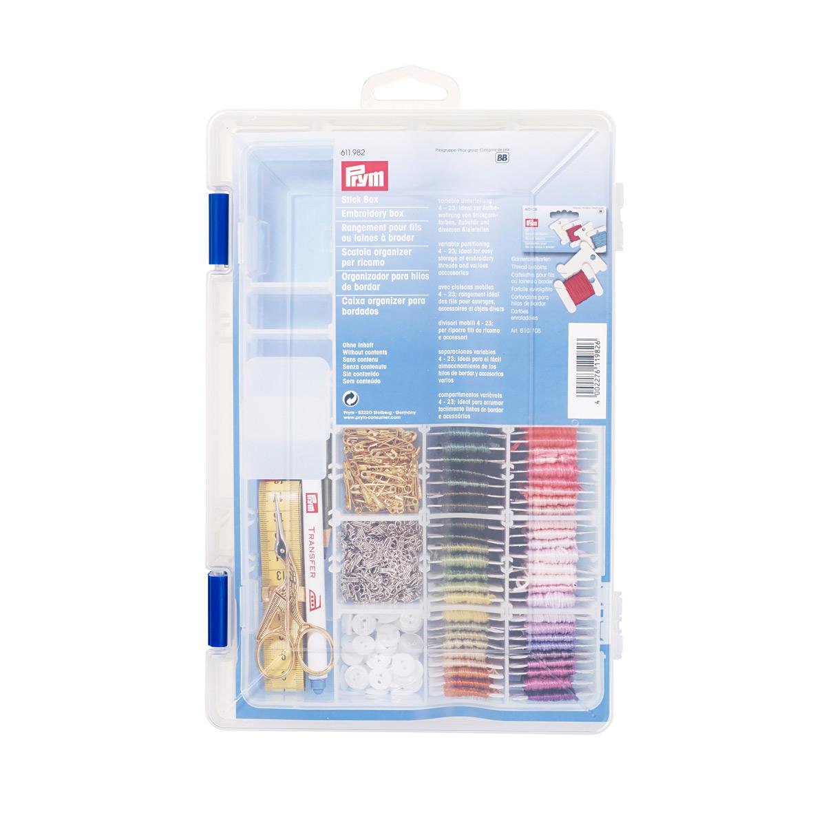 611982 Органайзер для вышивания, прозрачный пластик Prym